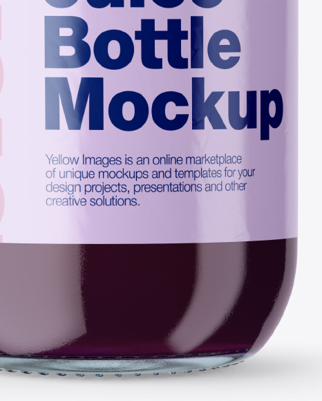 Clear Glass Bottle With Blueberry Juice Mockup