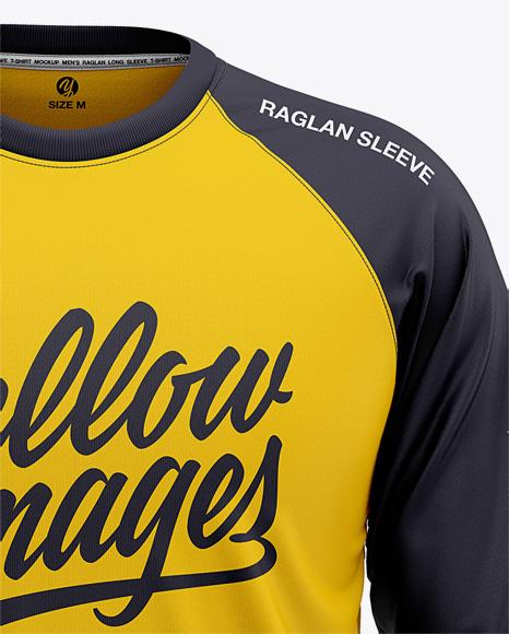 Men's Raglan Long Sleeve T-Shirt Mockup - Front View