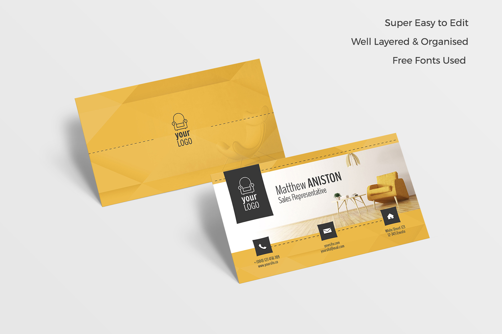 Furniture Business Card In Business Card Templates On Yellow Images