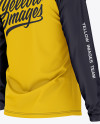 Men's Raglan Long Sleeve T-Shirt Mockup - Back Half Side View