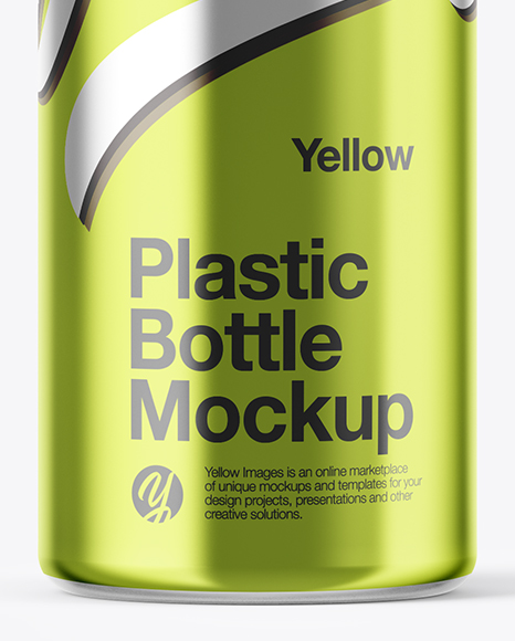 Plastic Transparent Bottle in Matte Shrink Sleeve Mockup