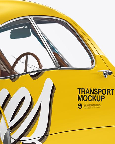 Retro Car Mockup - Back Half Side View