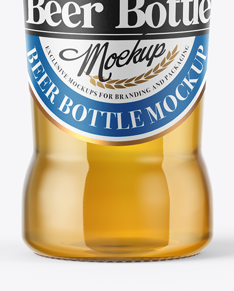 330ml Clear Glass Lager Beer Bottle Mockup