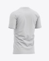 Men's Tight Round Collar T-Shirt - Back Half-Side View