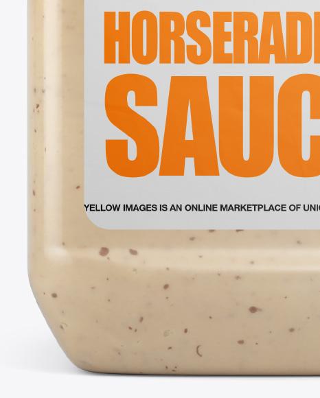 Plastic Jug w/ Sriracha Horseradish Sauce Mockup