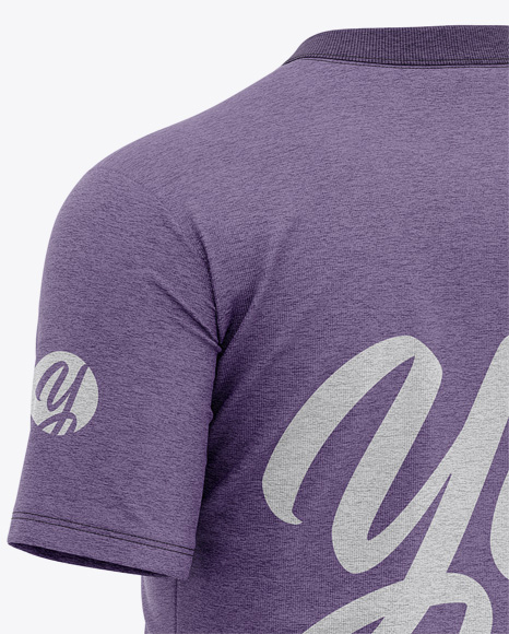 Men's Heather Tight Round Collar T-Shirt - Back Half-Side View