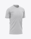 Men's Heather Tight Round Collar T-Shirt - Front Half-Side View