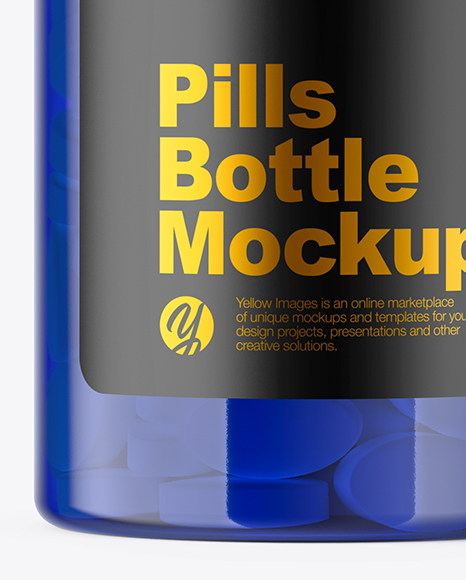 Blue Pills Bottle Mockup