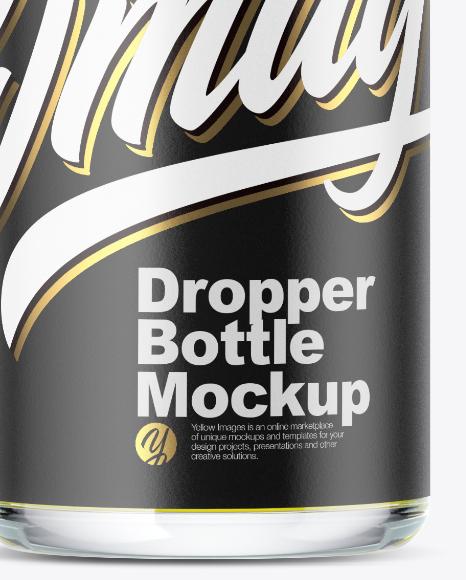 Clear Glass Dropper Bottle w/ Oil Mockup