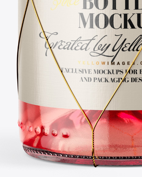 Clear Glass Pink Wine Bottle with Golden Wire Mockup