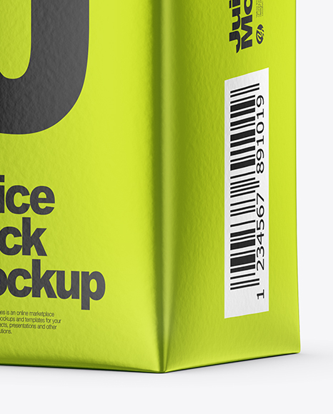 200ml Metallic Juice Carton Package Mockup