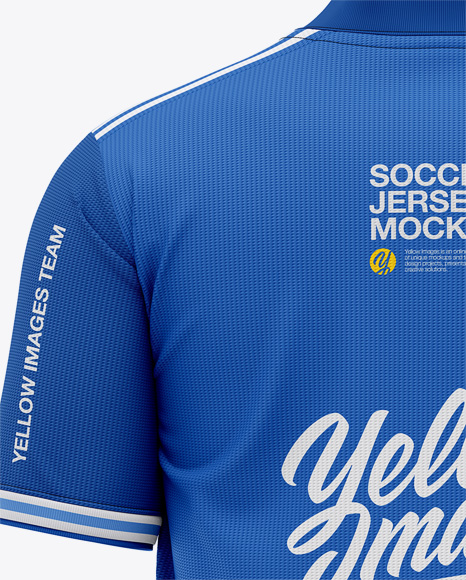 Men's Henley Collar Soccer Jersey Mockup - Back View