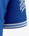 Men's Henley Collar Soccer Jersey Mockup - Back Half-Side View