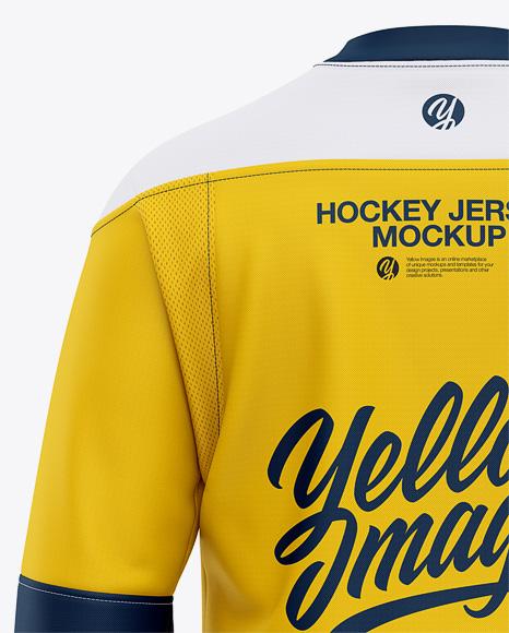 Men's Lace Neck Hockey Jersey Mockup - Back View