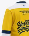 Men's Lace Neck Hockey Jersey Mockup - Back Half-Side View