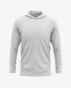 Men's Hooded Long Sleeve T-shirt Mockup - Front View