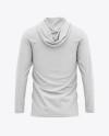 Men's Hooded Long Sleeve T-shirt Mockup - Back View