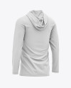 Men's Hooded Long Sleeve T-shirt Mockup - Back Half-Side View