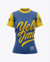Women's Tight Round Collar T-Shirt Mockup - Front View