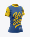 Women's Tight Round Collar T-Shirt Mockup - Front Half-Side View