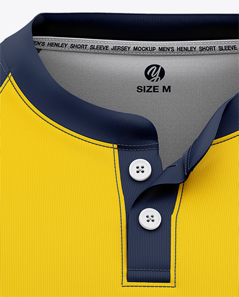 Men's Henley Neck Tow-Buttons Jersey Mockup - Front View