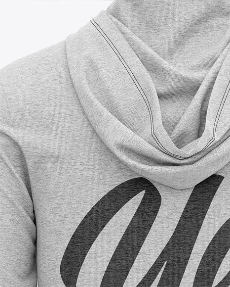 Men's Heather Long Sleeve Hooded T-shirt Mockup - Back View