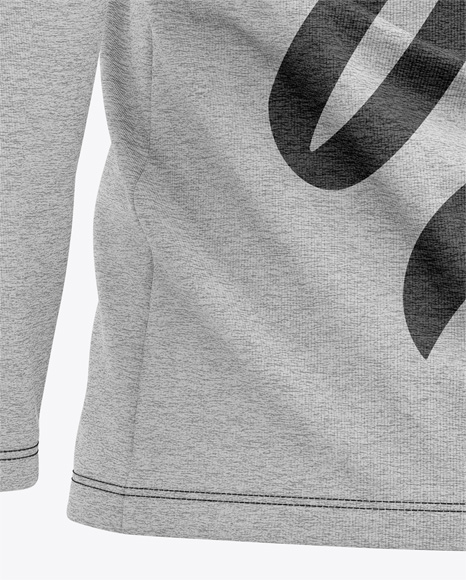 Men's Heather Long Sleeve Hooded T-shirt Mockup - Back Half-Side View