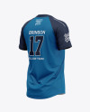 Men's Tow-Buttons Baseball Jersey Mockup - Back Half Side View