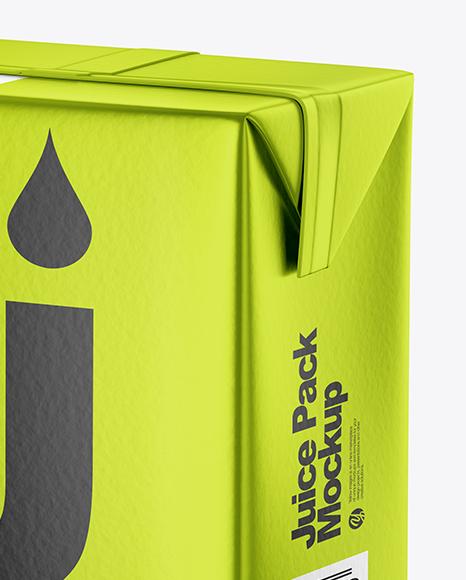 200ml Metallic Juice Carton Package Mockup