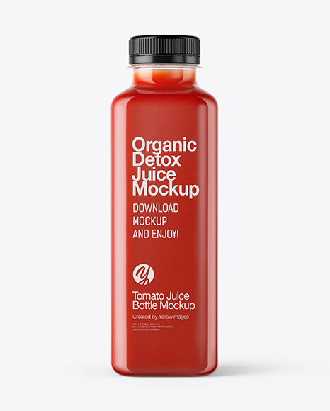Square Tomato Juice Bottle Mockup