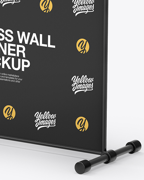 Press Wall Banner with Plastic Frame Mockup