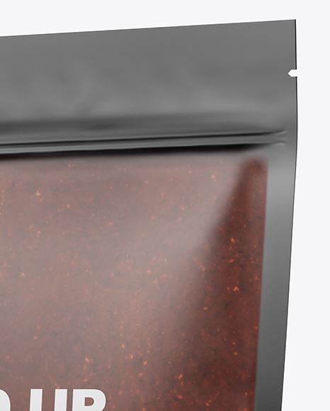 Matte Transparent Stand-Up Pouch w/ BBQ Sauce Mockup