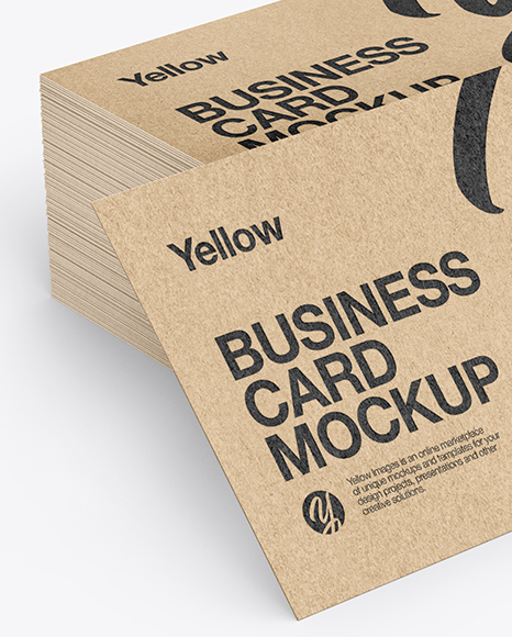 Stack of Kraft Business Cards Mockup