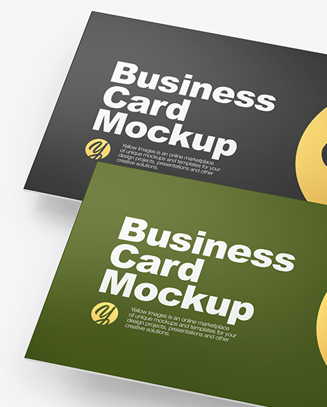 Four Paper Business Cards Mockup