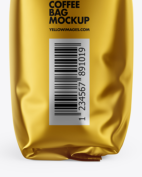 Matte Metallic Coffee Bag Mockup