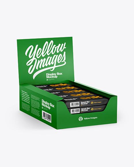 Textured Display Box with Snacks Mockup