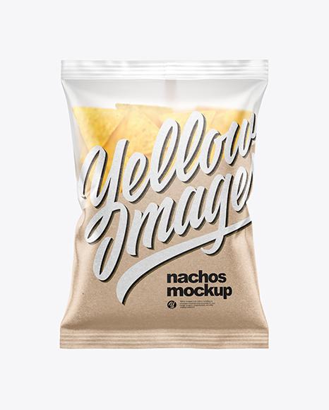 Matte Bag With Nachos Mockup