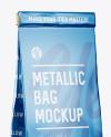 Matte Metallic Bag With Window Mockup - Half Side View