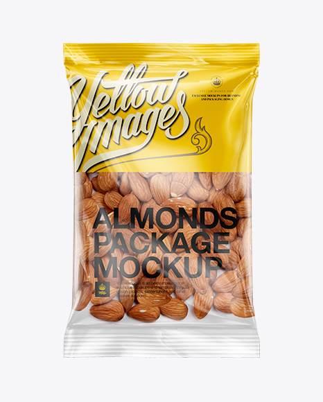 Download Clear Plastic Pack w/ Almonds Mockup Object Mockups