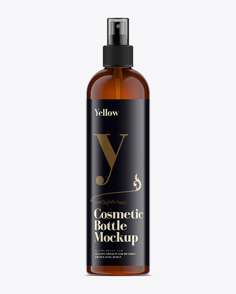 Download 350ml Amber Plastic Boston Bottle Mock-Up Object Mockups